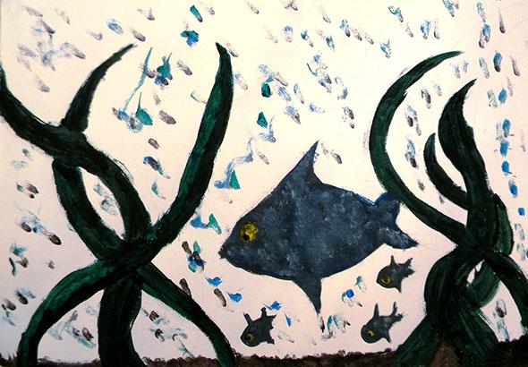 Pintura de aluno da E.M.Professor Hilarino Moraes