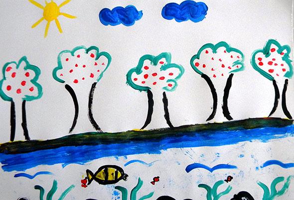 Pintura de aluno da E.M. Manuel Pereira Ramalho (manhã)