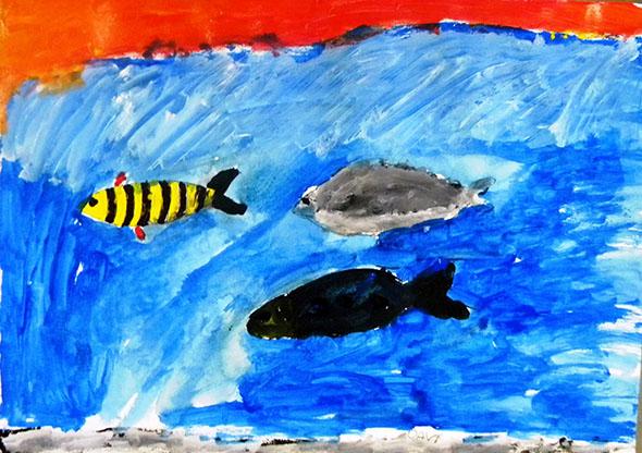 Pintura de aluno da E.E. de Furnas